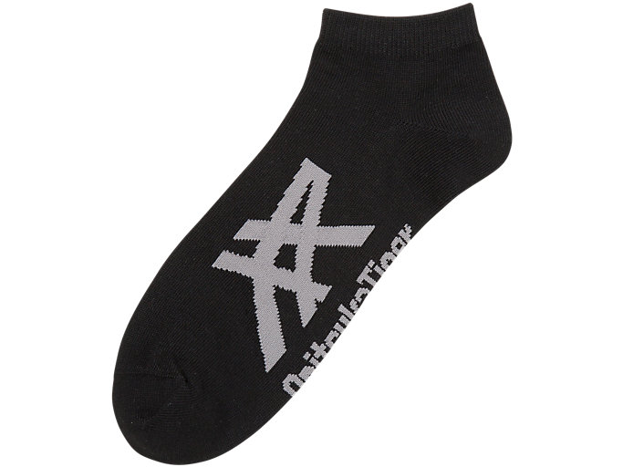 Front Top view of ANKLE SOCKS, BLACK/HEATHER GREY