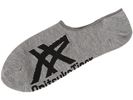 Front Top view of INVISIBLE SOCKS, HEATHER GREY/BLACK