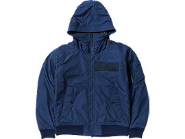 Front Top view of WOVEN HOODED JACKET, Navy