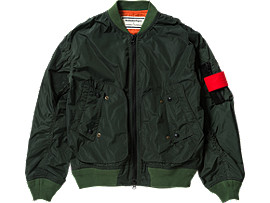 Front Top view of BOMBER JACKET, Green