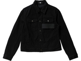 Front Top view of DENIM JACKET, BLACK