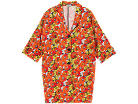 Front Top view of WS LS FLOWER COAT, ORANGE/WHITE