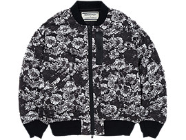 Front Top view of WS FLOWER B-JACKET, BLACK/WHITE