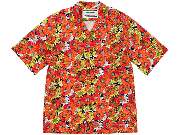 Front Top view of FLOWER SHIRT, ORANGE/WHITE