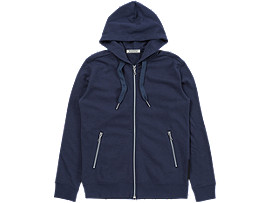 Front Top view of SWEAT ZIP HOODIE, NAVY