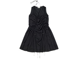 Front Top view of WS DRAWSTRING DRESS, Black