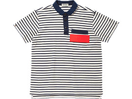 Front Top view of POLO SHIRT, White/Navy
