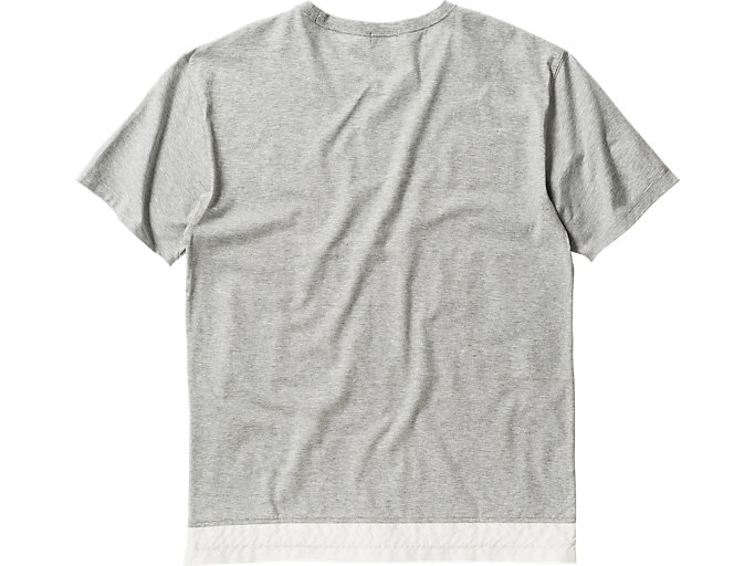 Back view of T-SHIRT, HEATHER GRAY/WHITE
