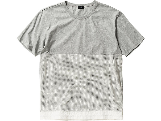 Front Top view of T-SHIRT, Heather Gray/White