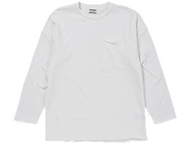 Front Top view of LONG SLEEVE T-SHIRT, WHITE