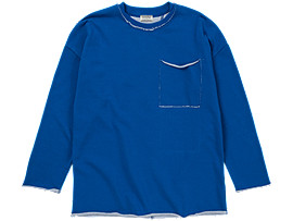 Front Top view of LONG SLEEVE T-SHIRT, Blue