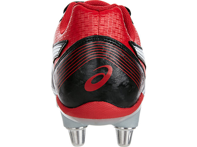 Back view of LETHAL TACKLE™, BLACK/RACING RED/WHITE
