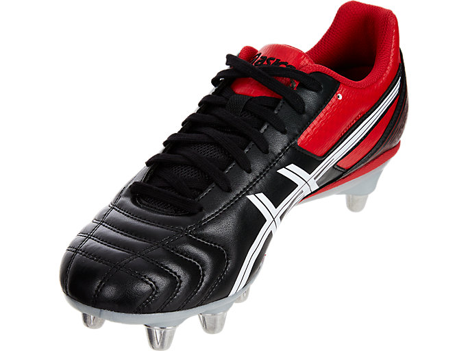 Front Left view of LETHAL TACKLE™, BLACK/RACING RED/WHITE