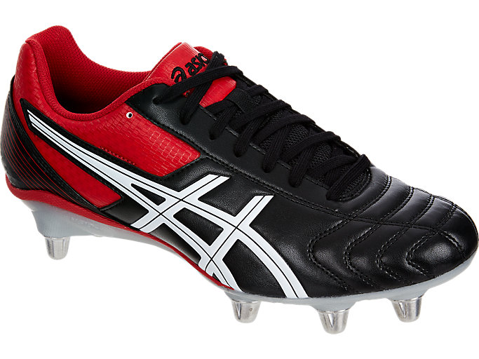 Front Right view of LETHAL TACKLE™, BLACK/RACING RED/WHITE