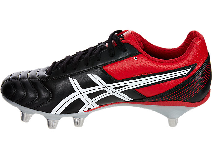 Left side view of LETHAL TACKLE™, BLACK/RACING RED/WHITE
