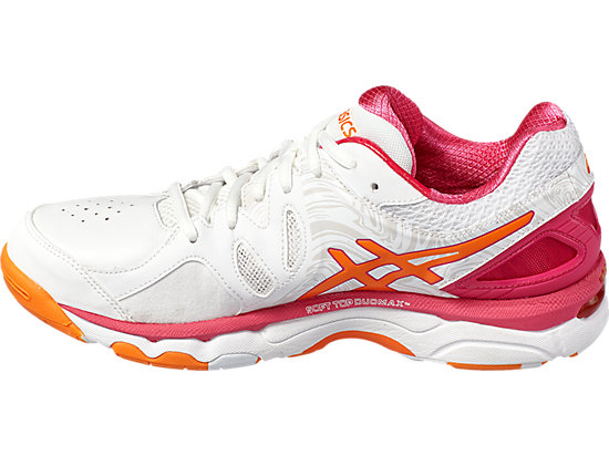 GEL-NETBURNER SUPER 7 WHITE/ORANGE POP/SPORT PINK 7