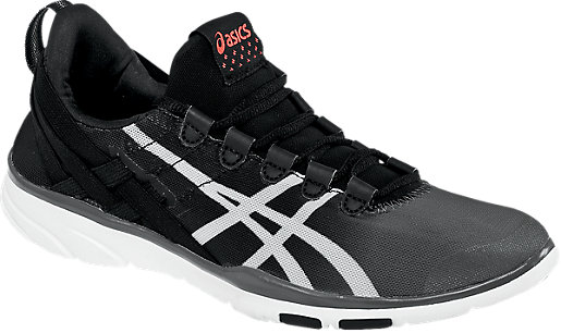 asics gel fit sana black white coral
