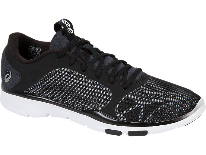 Front Right view of GEL-FIT TEMPO 3, BLACK/SILVER/WHITE