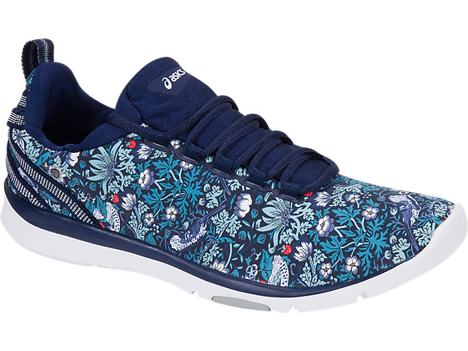 Front Right view of GEL-FIT SANA3 (LIBERTY), INDIGO BLUE/WHITE/MID GREY