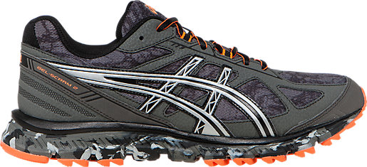 Asics Running shoes Mens Silver Orange Gel scram 2 2e Trail Gunmetal Hot