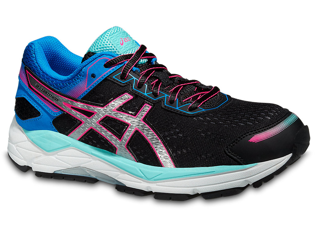 Asics Running shoes Womens Black Silver Electric Blue Gel fortitude 7