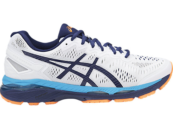 GEL-KAYANO 23, White/Indigo Blue/Hot Orange