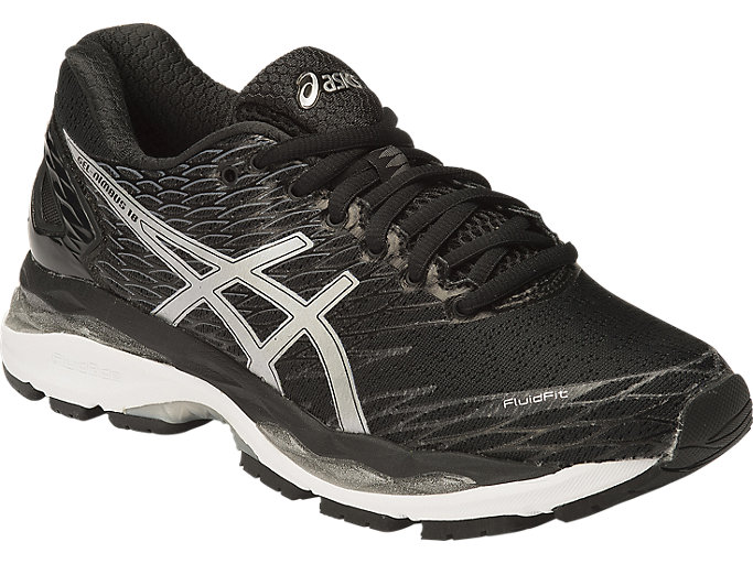 Front Right view of GEL-NIMBUS18, BLACK/SILVER/CARBON
