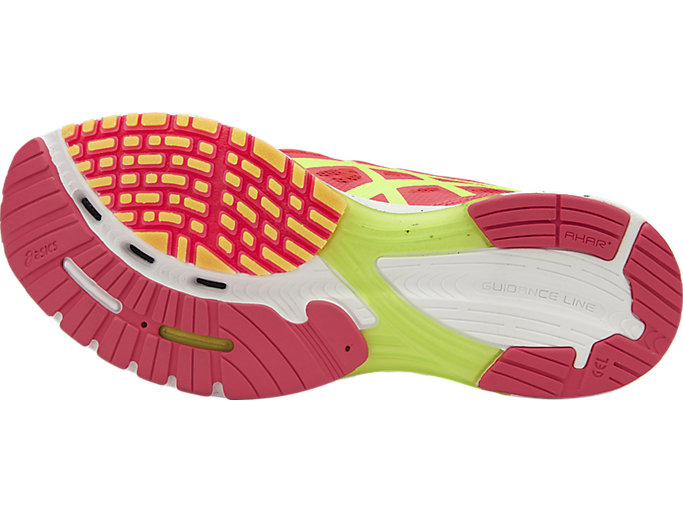 Bottom view of GEL-DS RACER 11, DIVA PINK/SAFETY YELLOW/BLACK