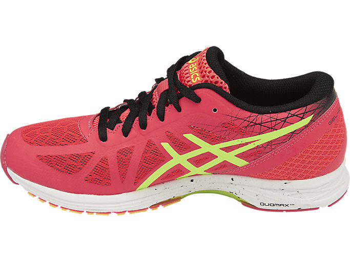 Left side view of GEL-DS RACER 11, DIVA PINK/SAFETY YELLOW/BLACK