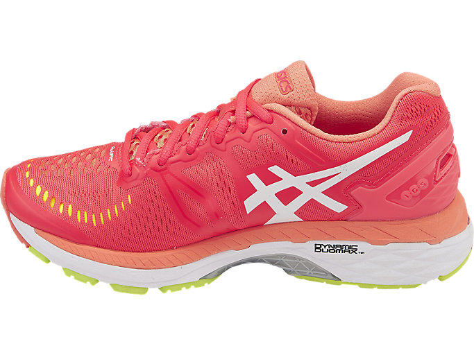 Left side view of GEL-KAYANO 23, DIVA PINK/WHITE/CORAL PINK