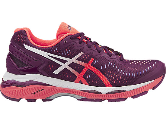 GEL-KAYANO 23, Dark Purple/Flash Coral/White