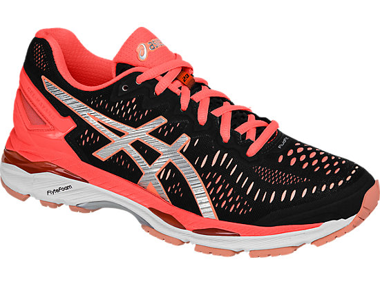 GEL-Kayano 23 Black/Silver/Flash Coral 7