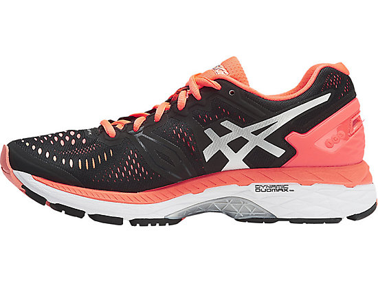 GEL-Kayano 23 Black/Silver/Flash Coral 15