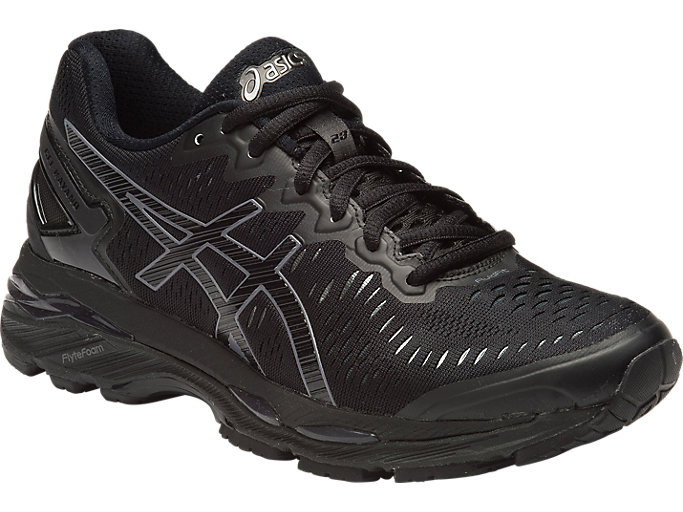 Front Right view of GEL-KAYANO 23, BLACK/ONYX/CARBON