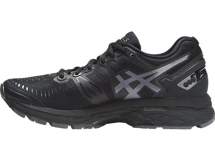 Left side view of GEL-KAYANO 23, BLACK/ONYX/CARBON