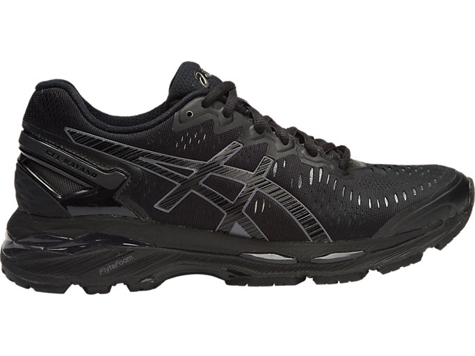 Right side view of GEL-KAYANO 23, BLACK/ONYX/CARBON