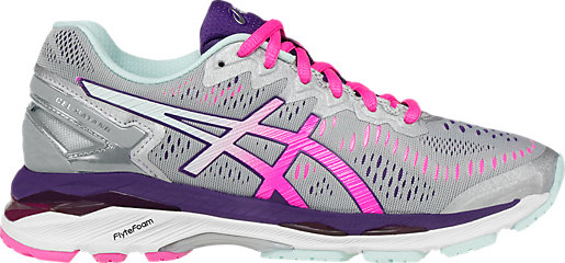 GEL-Kayano 23 (D) Silver/Pink Glow/Parachute Purple 3 RT