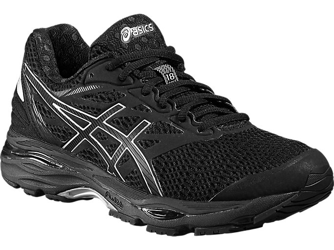 Front Right view of GEL-CUMULUS 18, BLACK/SILVER/BLACK