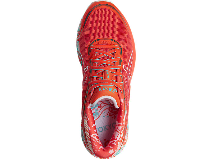 Top view of DynaFlyte, MANDARINE RED/WHITE/DEEP FOREST