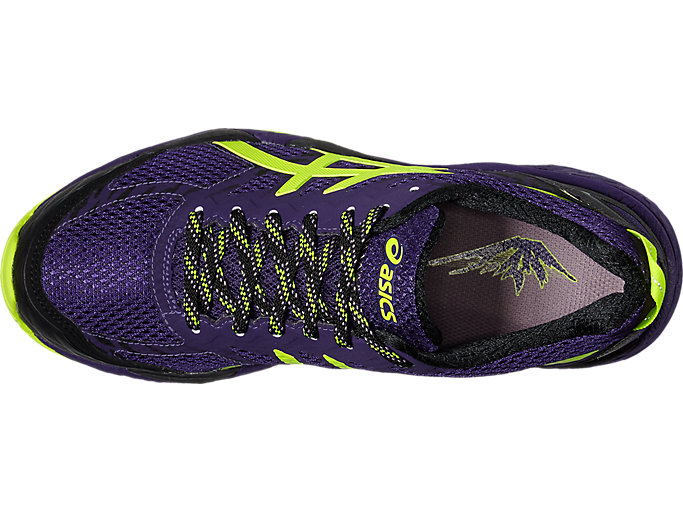 Top view of GEL-FujiTrabuco 5 G-TX, PARACHUTE PURPLE/SAFETY YELLOW/BLACK