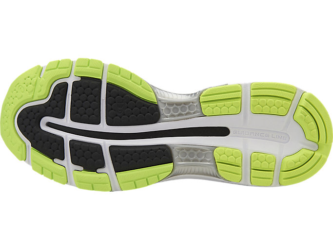 Bottom view of GEL-NIMBUS 19, BLACK/SAFETY YELLOW/SILVER