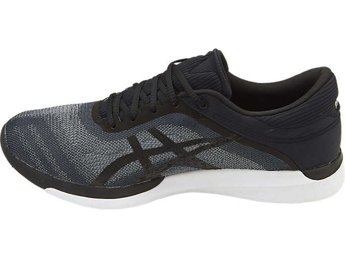 Left side view of Zapatilla de running FUZEX RUSH para hombre, MIDGREY/BLACK/WHITE