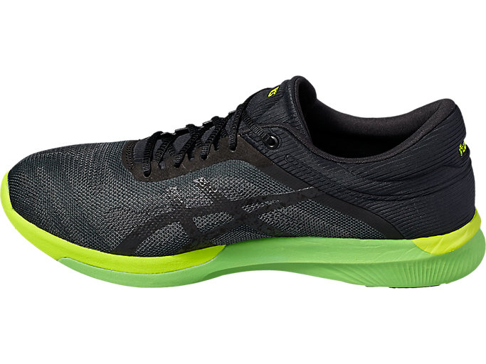 Left side view of Zapatilla de running FUZEX RUSH para hombre, CARBON/BLACK/SAFETY YELLOW