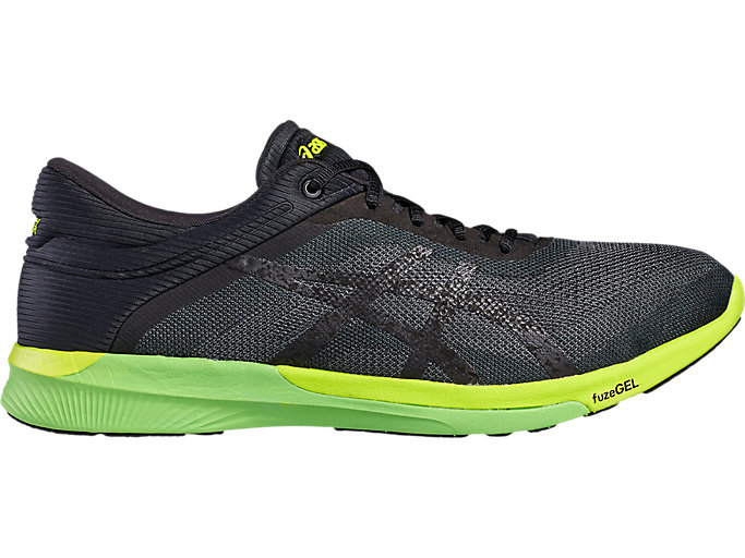 Right side view of Zapatilla de running FUZEX RUSH para hombre, CARBON/BLACK/SAFETY YELLOW