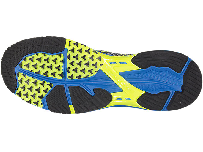 Bottom view of Zapatilla de running GEL-DS TRAINER 22 para hombre, CARBON/BLACK/SAFETY YELLOW