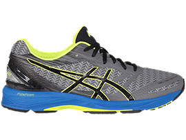Right side view of GEL-DS TRAINER 22, CARBON/BLACK/SAFETY YELLOW