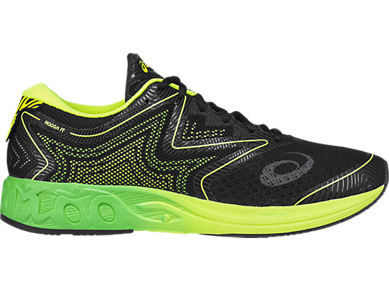 Zapatilla de running sobre asfalto NOOSA FF para hombre, BLACK/GREEN GECKO/SAFETY YELLOW