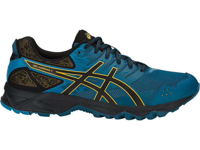 Right side view of GEL-SONOMA 3, INK BLUE/BLACK/LEMON CURRY
