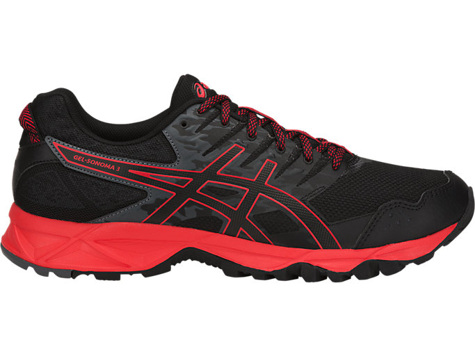 Right side view of GEL-SONOMA 3, BLACK/FIERY RED/BLACK