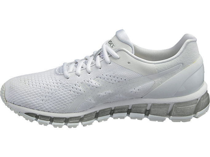 Left side view of Zapatilla de running GEL-QUANTUM 360 KNIT para hombre, WHITE/SNOW/SILVER